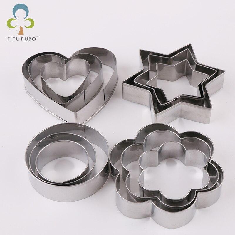 12 sztuk/zestaw ze stali nierdzewnej Cookie herbatniki diy formy gwiazda serce okrągły kształt kwiatu Cutter forma do pieczenia narzędzia GYH