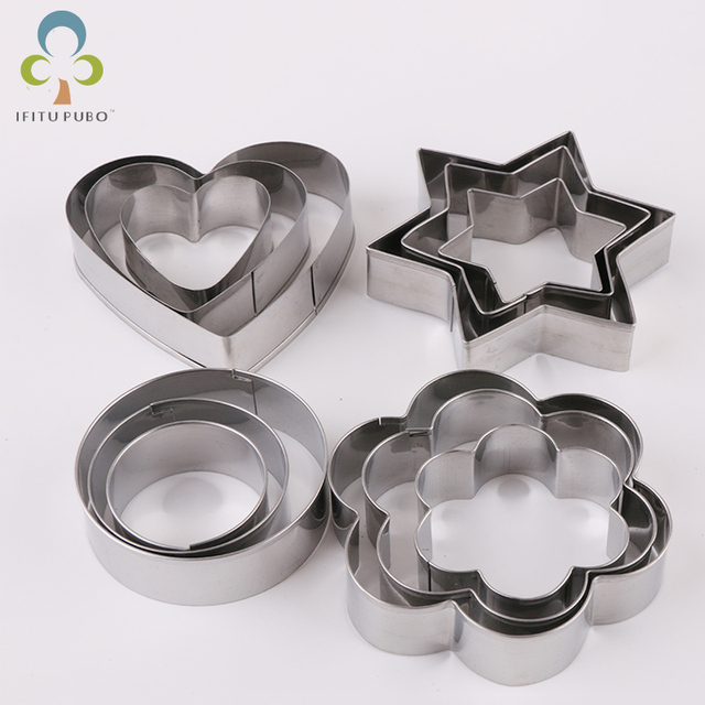 $ US $2.10 12pcs/set Stainless Steel Cookie Biscuit DIY Mold Star Heart Round Flower Shape Cutter Baking Mould  Tools GYH