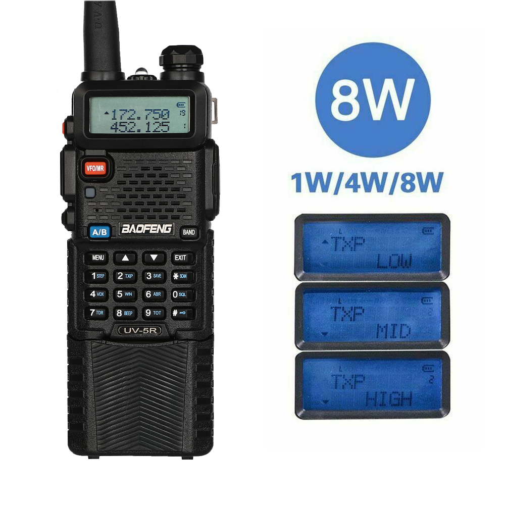 Baofeng UV-5R Power 8W Triple 8/4/1 Watts High Power 10km Long Rang Two Way Radio VHF UHF Dual Band UV5R Portable Walkie Talkie