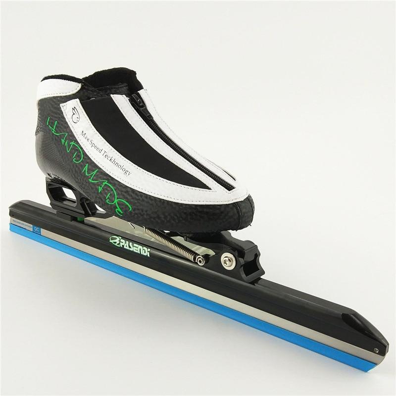 Clap patin à glace longue piste blues chaussures de patinage sur glace patins noirs pour chaussures de Hockey chaussures de glace 380 410 430 lame de glace pasendi