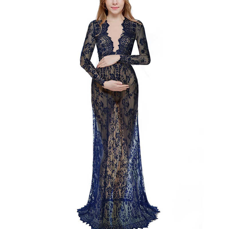 2019 Fashion Maternity Photography Props Maternity Gown Lace Maternity Dress Fancy Shooting Photo Summer Pregnant Dress Plus