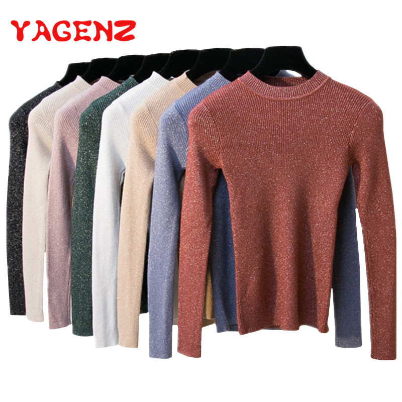 YAGENZ Knitted Pullover Sweater Women Sequined Ladies Snd Spring For Tops High-Elasticity