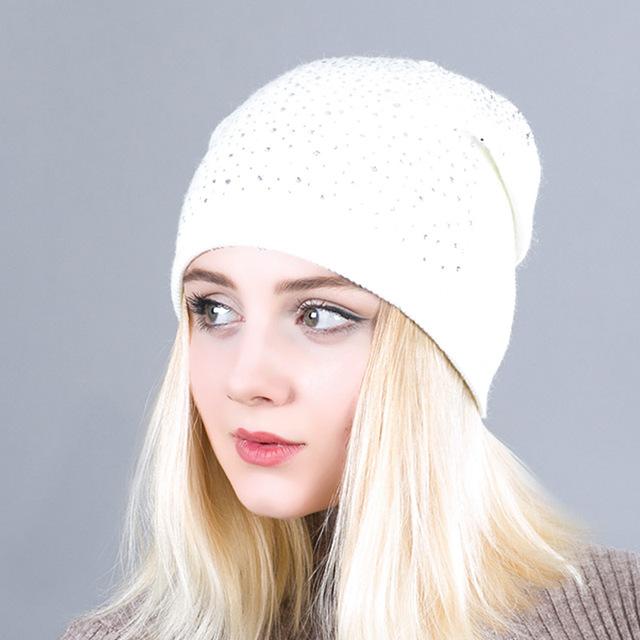 dda0ff9a22695 Warm Female Winter Beanie Hats Wool Knitted Caps Women Flashing