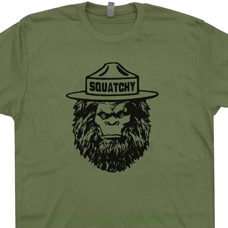 Squatchy Sasquatch T Shirts Bigfoot Smokey The Appalachian Trail Bear Mountains Are Calling Cryptozoology Mens Shirtmandude