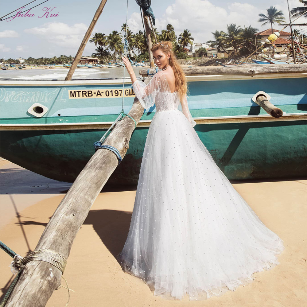 Julia Kui Beach Of A-Line Wedding Dress With Sleeve Sweep Train  And Zipper Back Wedding Gown Sewing Pearls Decoration