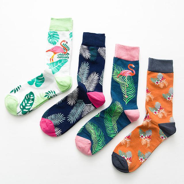 Brand Quality Mens Happy Socks Combed Cotton Flamingo Carton 7colors Funny Socks Autumn Winter Crew Casual Men compression socks