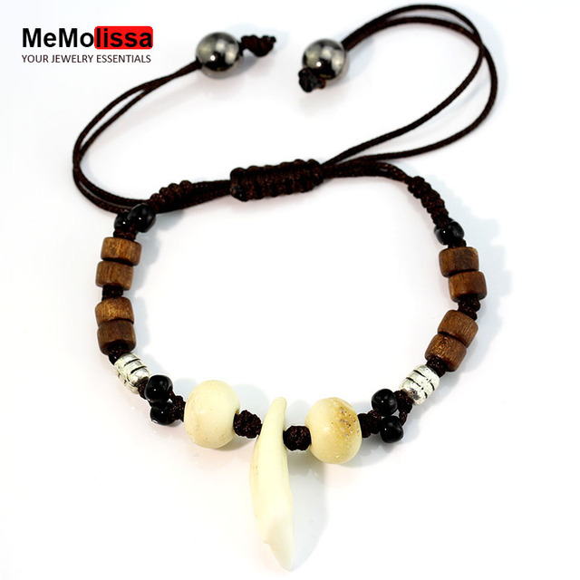 Mms Evil Anti Leather Real Wolf Tooth Bracelet Men Women Wood Beads Bangle Jewelry Party