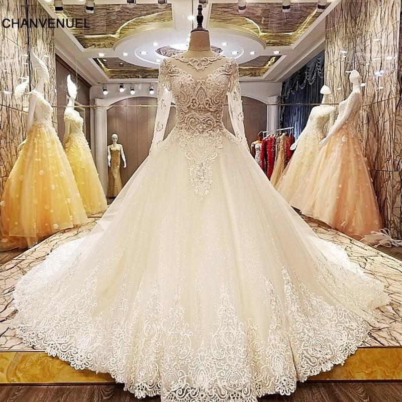 LS6806 vestido de noiva de manga comprida zíper de volta beading vestido de casamento de renda de cristal vestido de noiva elegante para fotos reais nupciais