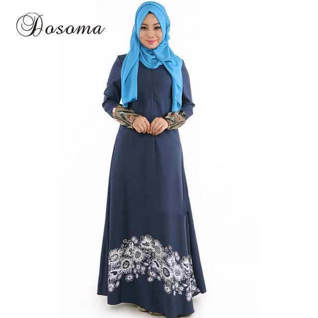 196aed41fe6f Muslim Women Print Abaya Kimono Casual Pattern Maxi Gown Dress Arab Robes  Dubai Instant Hijab Indian Vestido Islamic Prayer
