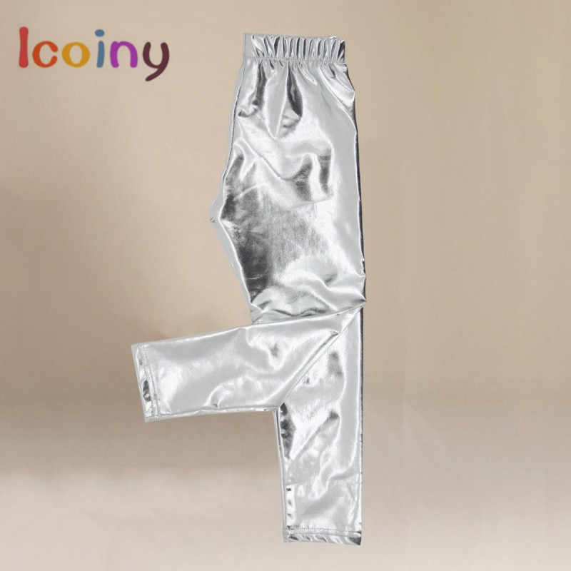 High Quality Girl Leggings Elastic 3-10Y Pants Skinny Gold Silver kids Metal Colors Sequined Fuax Leather Baby Legging