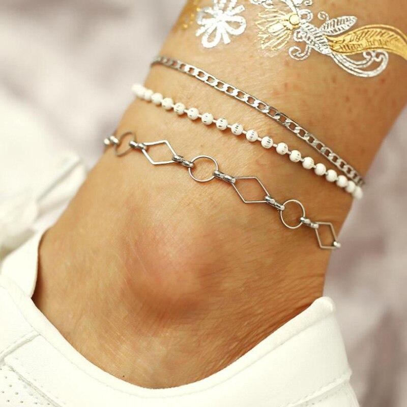 Cristal Paillettes Bracelet Set Beach Foot Vintage Bracelet Boho Bijoux 3Pcs//lot 6 L