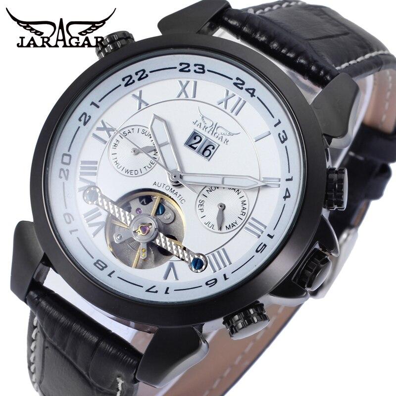 лучшая цена JARGAR Men's watch Vogue Automatic Leather Classic Tourbillion Calendar Analog Wristwatch Color Black JAG057M3