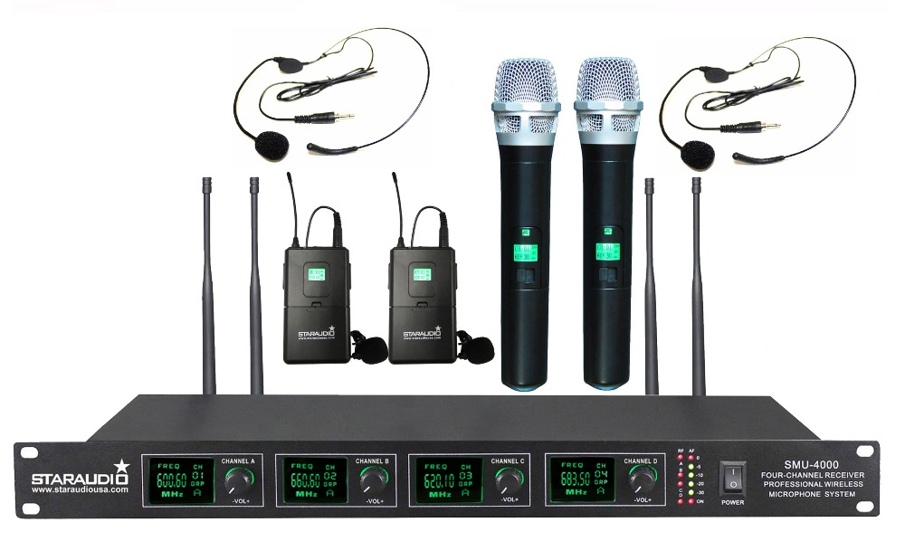 staraudio 4 channel uhf wireless microphone set 2ch handheld 2ch headset lavalier lapel. Black Bedroom Furniture Sets. Home Design Ideas