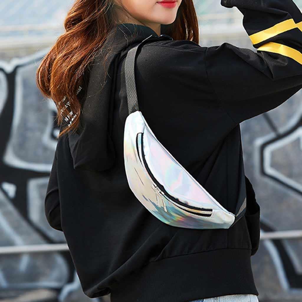 レーザーウエストパックバッグ女性純粋なカラーファニーバッグウエストパックパック女性ベルトバッグ黒 PVC ウエストパックレーザー胸電話ポーチ bolso cintura