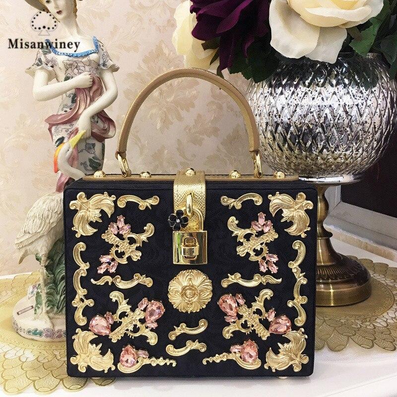 Misanwiney 2017 New fashion black velvet box bag Women handbag femme flower evening bag luxury Diamond day Clutch bling party party box black