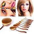 10 UNIDS Cepillos cepillo de Dientes de Oro Rosa Oval maquillaje Brocha Pinceles Polvo Fundación Contour Anastasia Beverly Maquiagem