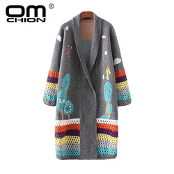 Женский длинный кардиган OMCHION, Свободный вязаный свитер в Корейском стиле, модель LS64 на осень