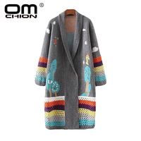 OMCHION Casaco Feminino 2018 Autumn Patchwork Long Cardigan Women Casual Knitted Loose Long Korean Sweater Coat Jumper LS64