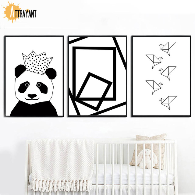 Panda Crown Geometric Bird Wall Art Canvas Painting Nordic Posters And Prints Black White Wall Pictures Baby Kids Room Decor