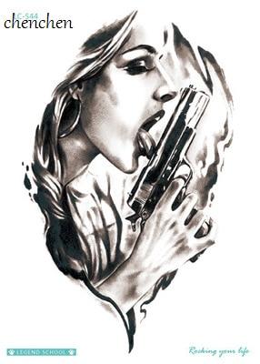 Temporary Tattoo Sticker gyilkos pisztoly vízátvitel henna flash - Tetoválás és testmûvészet