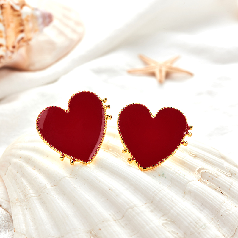 19 New Design Punk Gold Edge Red Acrylic Heart Stud Earrings For Women Bohemian Big Stud Earring Christmas Jewelry Gift 4