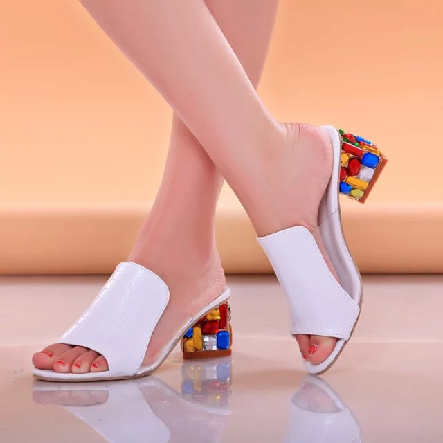Women's Shoes Crystals-Heels Rhinestone Woman Sandals Peep-Toe Summer Colorful Large