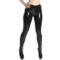 241ae49d94dee2 Fashion Women 2015 Sexy Latex Trousers With Socks And Crotch Zipper Fetish Rubber  Pants Plus Size