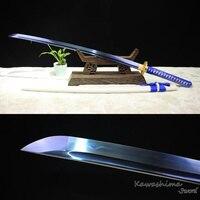 Blue Blade Handmade Samurai Sword Japanese Katana Reel Steel Full Tang Sharpness Ready For Cutting T10 Heat Tempered Real Hamon