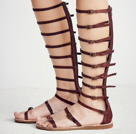 Narrow Strappy Gladiator Sandals summer flat sandal black/brown/beige leather buckles strap open toe knee high sandal boots недорого