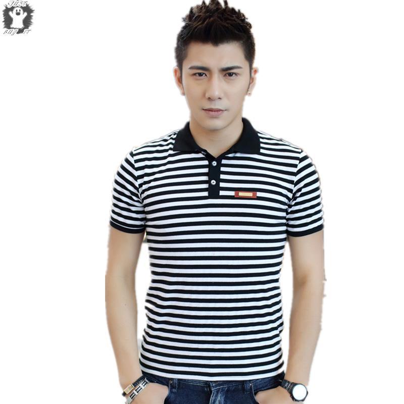 8a64aaea XXS-M Mens Summer Style 3 Colors Short Sleeve White Striped Cotton polo men  Polo shirt Men Clothing shirts Business polo