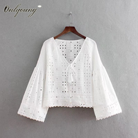 Onlyoung 2018 Summer Women Embroidery Blouse Hollow Out Long Sleeve Embroidered White Blouse Shirt