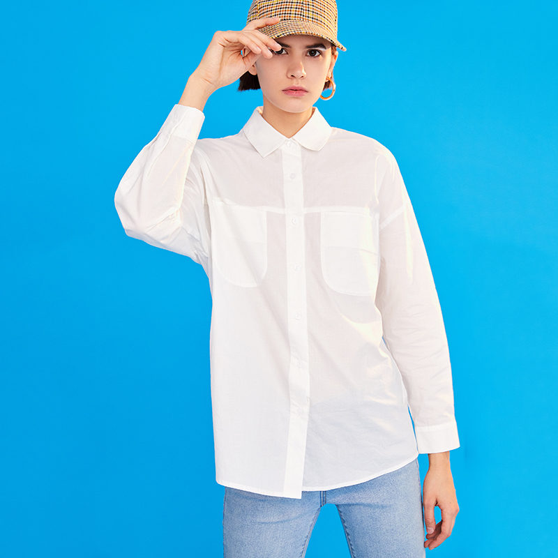 Женская блузка с отложным воротником Toyouth, однотонная Свободная блузка с длинным рукавом, весна 2019