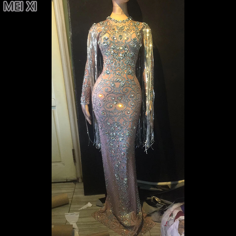 Silver luxury rhinestone sequined fringe dress birthday celebration party banquet evening concert ball singer costume
