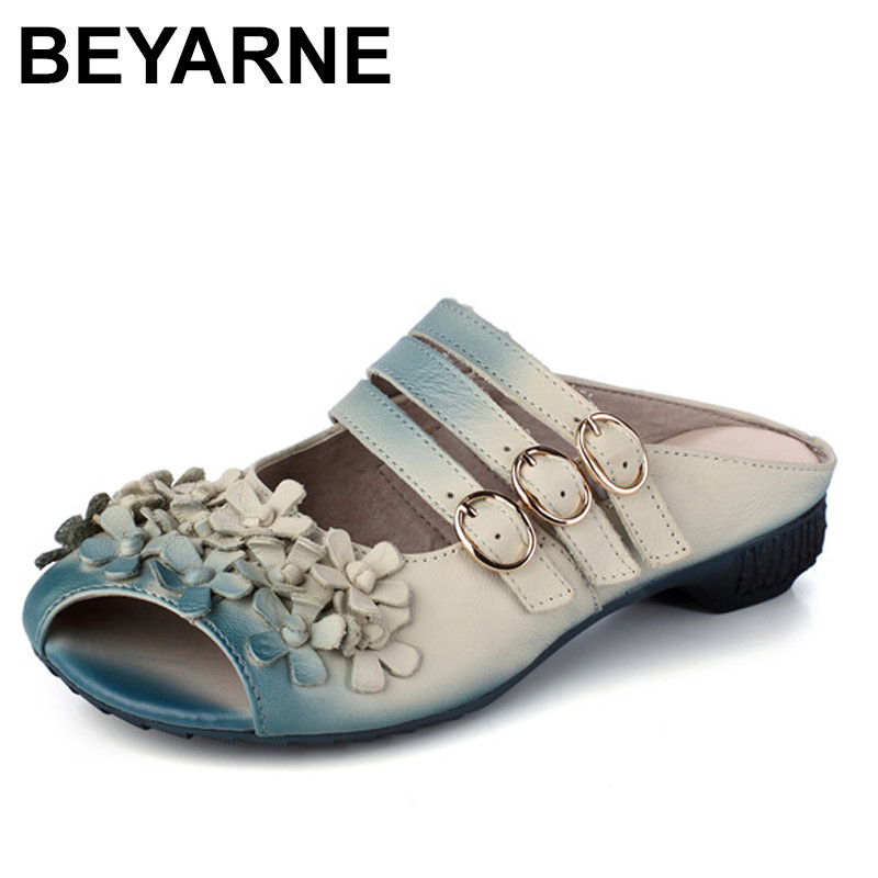 BEYARNE Leisure Gradient Color Floral Handmade Genuine Leather Shoes Women Sandals Flat Slippers 2018 new high end leather comfortable feet sandals classic sandals handmade leather slippers handmade leather slippers