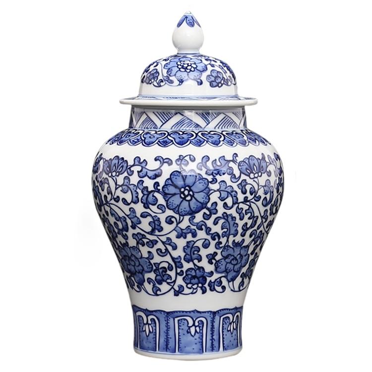 Jingdezhen qing qianlong antique porcelain hand painted blue and white general tank cans tea jar storage tanks