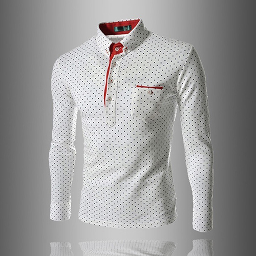 Men England Trendy Wave Point Self-Cultivation Long Sleeved Tide   Polo   Shirt Top
