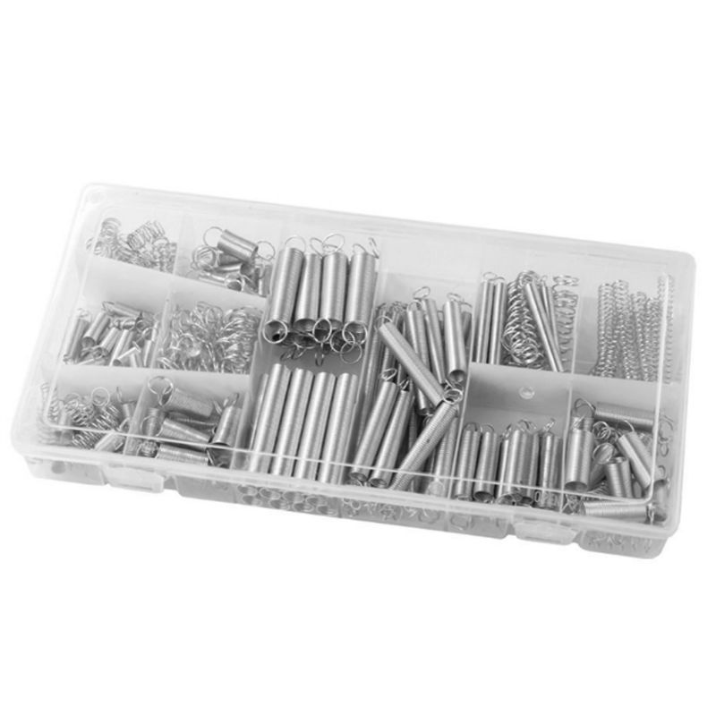 200PC Spring Assortment Tension Metal Steel Spring Wire Pin Assorted ...