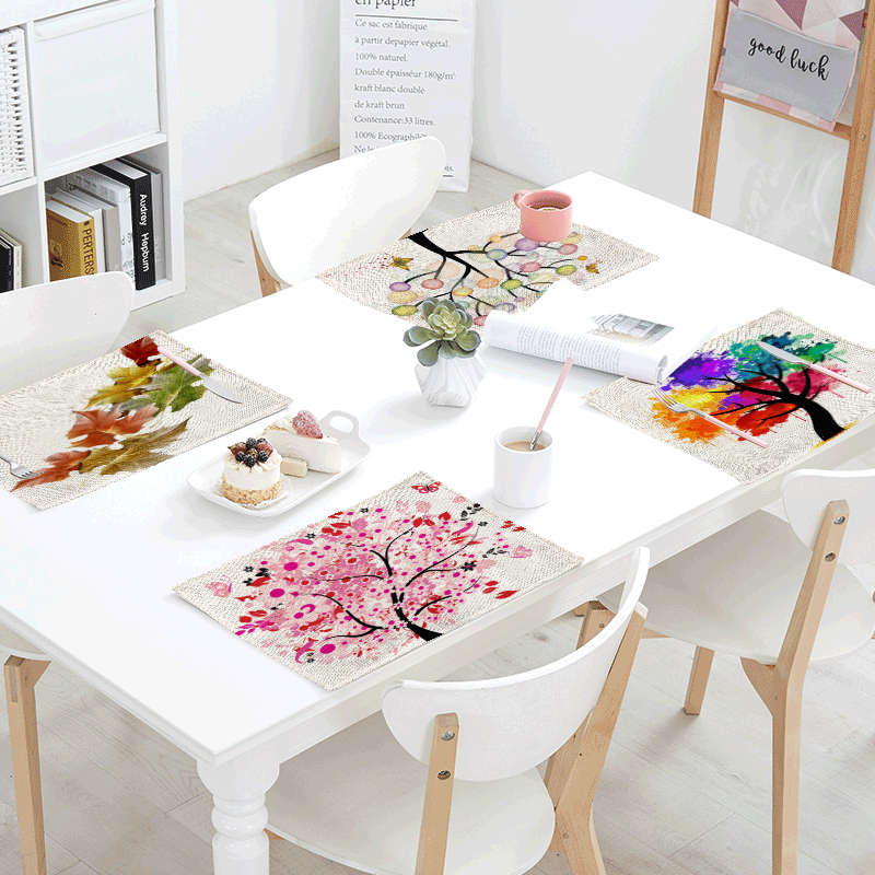 1Pcs 42*32cm Fashion Tree Of Life Napkins For Weddings Dining Placemats Printed Home Decor Pink Petals Colorful Doodle Table Mat