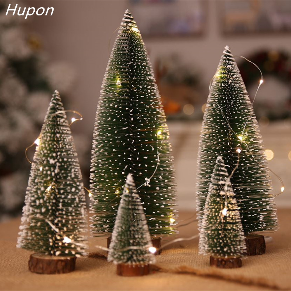 Navidad 2019 Christmas Tree Arbol De New Year's Products Mini Sisal Bottle Brush CHRISTMAS TREES Santa Snow Frost Village House image