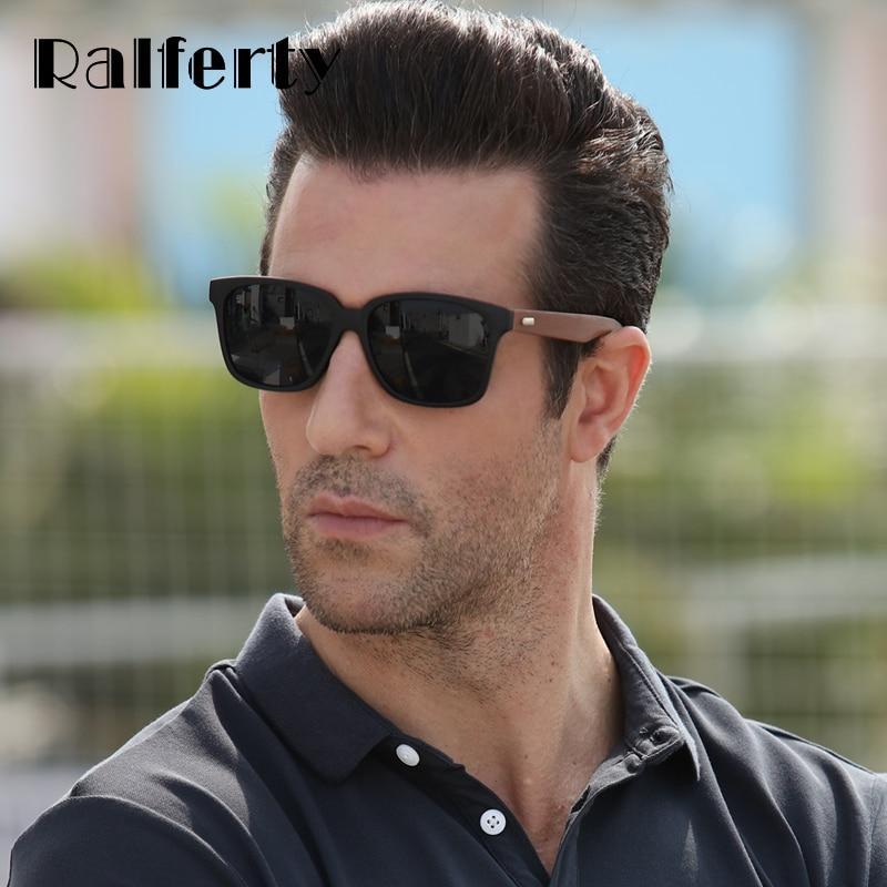 7e784ef36 Ralferty مربع تقليد نظارة شمسية خشبية الرجال العلامة التجارية مصمم الأسود UV400  نظارات شمسية النساء الرياضة Sunglases نظارات Oculos K1519