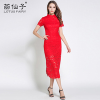 Elegant Chinese Style Short Sleeve cheongsam Empire Red Mandarin Collar Slim Dress Women Rose Lace Knee-Length Night Dresses