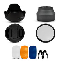 77MM UV Filter Lens Hood Lens Cap Flash Diffuser For Canon Nikon Pentax Sony Camera Free