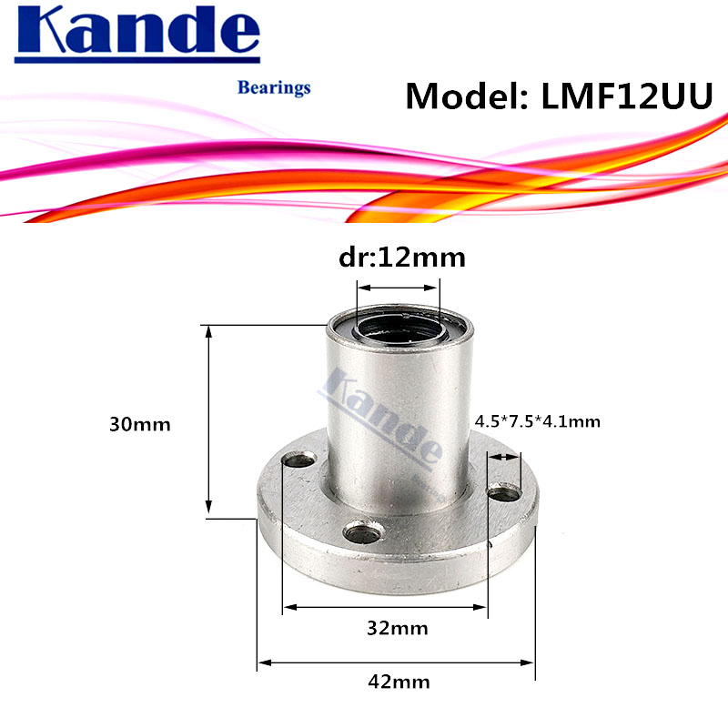 LMF12 UU  1pcs/lot LMF12UU Round Flange Linear Ball Bearing 12mm LMF12 For 3D Printer  SMF12UU Kande Bearings