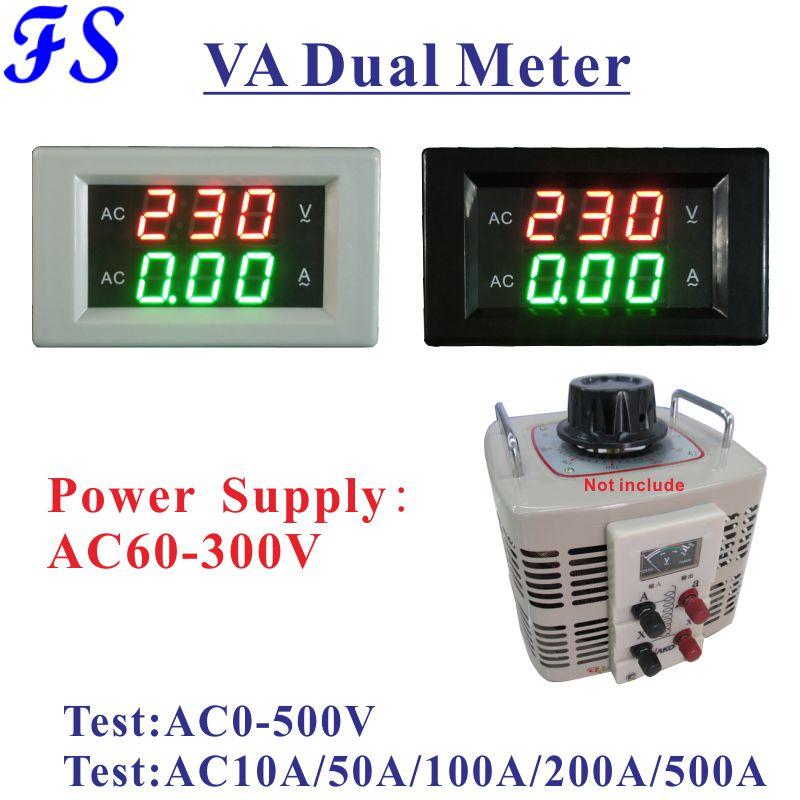 Medidor de tensão da c.a. 0-500v do medidor do painel do ampère do volt 1000a 100a 200a 500a amperímetro da tensão da c.a. de yb4835va para a fase monofásica variac 10a 50a