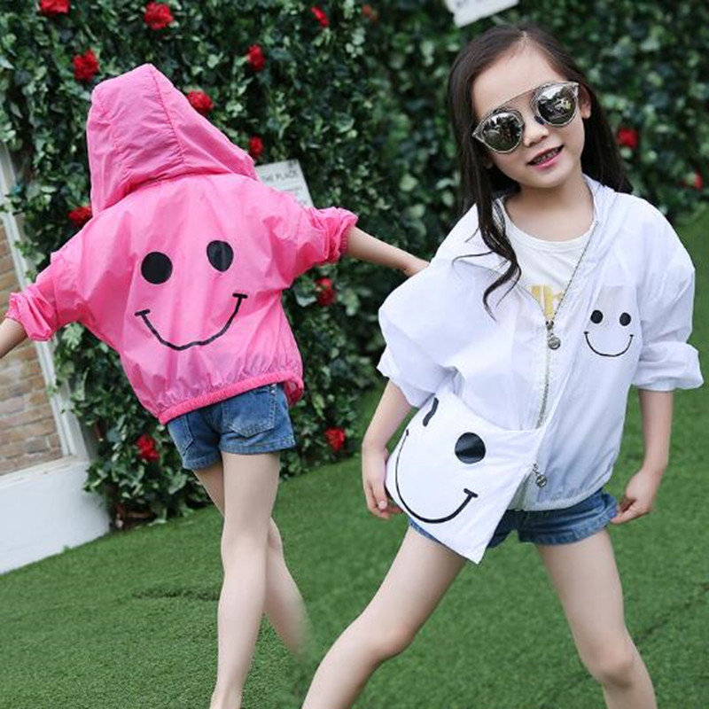 4-13 Y 2017 Hooded Long Sleeve Protective Sun Clothing Cartoon Smile Baby Kids Cardigan Girls Coats And Jackets With Bags Jw1390