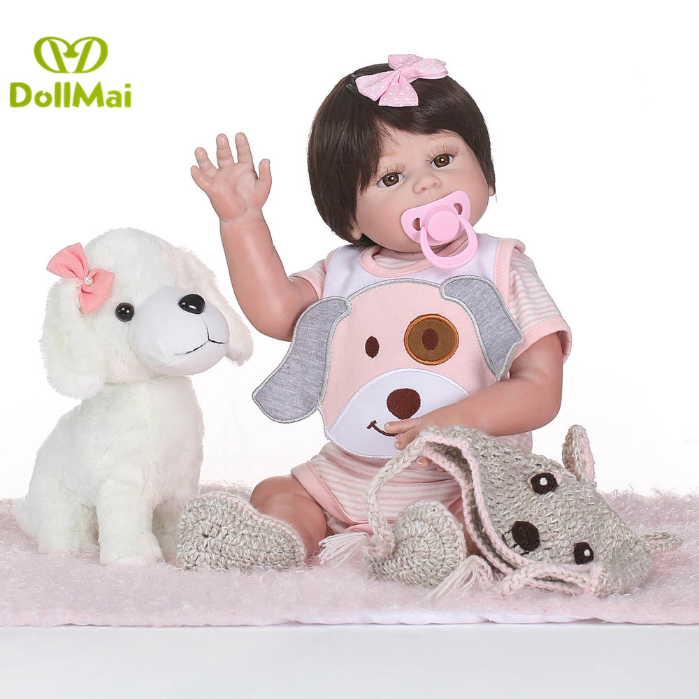 Bebe girl reborn dolls 2050cm full silicone reborn baby dolls with luxury puppy pacifier bottle real baby dolls for child giftBebe girl reborn dolls 2050cm full silicone reborn baby dolls with luxury puppy pacifier bottle real baby dolls for child gift