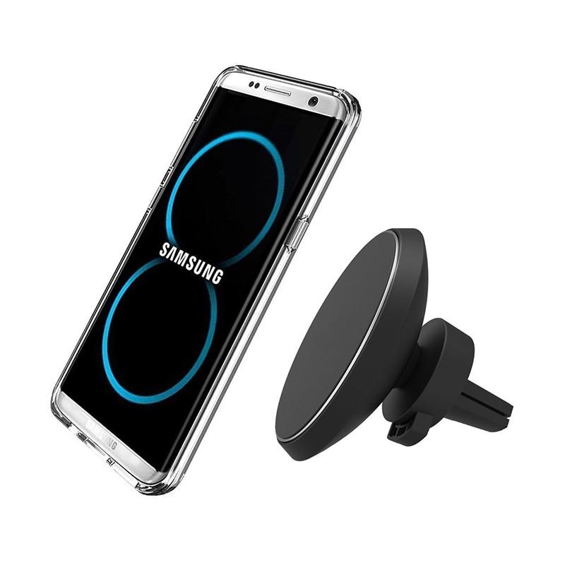 360 Graus de Rotação Telefone Padrão QI Carregador de Carro Sem Fio Magnético Para iphone Iphone 8 X Samsung S8 S8 Mais Borda S7 S7