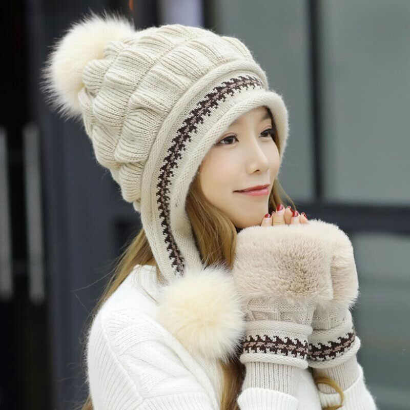 5a51a0d5195 SUOGRY Winter Hat Female Autumn and winter Fashion Women s Female Toe Cap  New Warm Gloves +