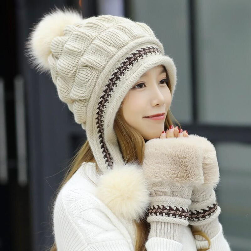 SUOGRY Winter Hat Female Autumn And Winter Fashion Women's Female Toe Cap New Warm Gloves + Knit Hat