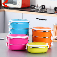 Korean Round Shape Portable Food Container Stainless Steel Thermal Insulated Lunch Box Bento Food Picnic Container